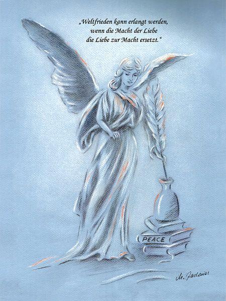 Engel van de Vrede - Handbeschilderde engel  van Marita Zacharias