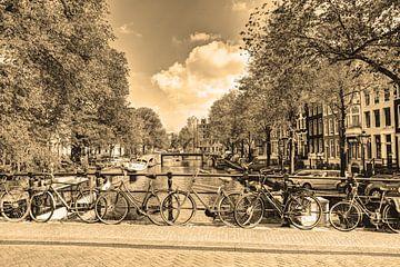 Jordaan Brouwersgracht  Amsterdamse Grachten Nederland Sepia van Hendrik-Jan Kornelis
