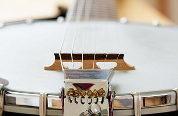 Detail van een metalen banjo 6 strijkers als muzikale achtergrond, geselecteerde focus en smalle sch van Maren Winter