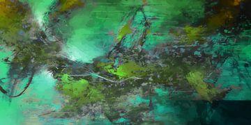 Modernes, abstraktes digitales Kunstwerk in Grün-Grau von Art By Dominic
