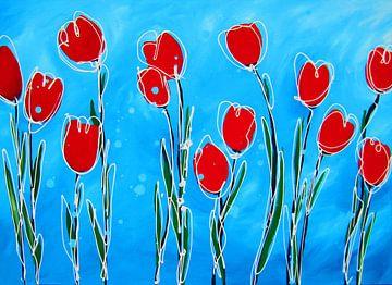 Tulpen met blauw van Nicole Roozendaal