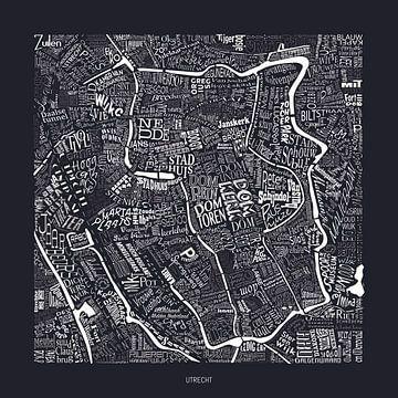 Kaart van Utrecht als plattegrond met straatnamen van Vol van Kleur