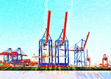 Terminal met containerkranen van Leopold Brix