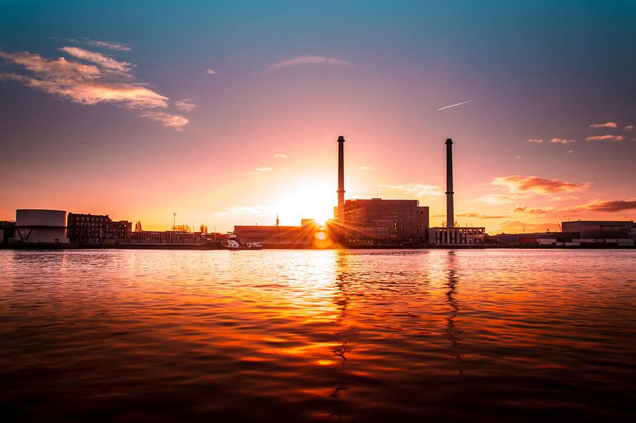 Rotterdam, Maashaven sunset van Marco Faasse