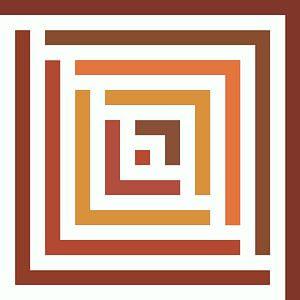 Abstract in ochre bruin terracotta tinten en wit van Maurice Dawson
