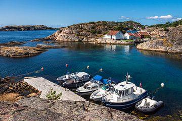 Bateaux sur l'île de l'archipel de Kapelløya en Norvège