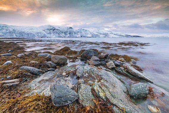 Noors fjord zonsondergang