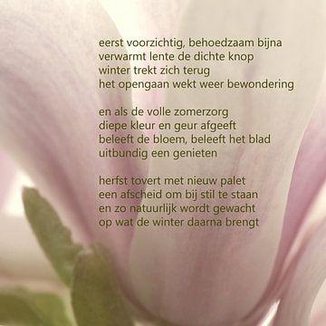 Magnolia met poëzie van Bargo Kunst