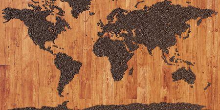 Weltkarte aus Kaffeebohnen
