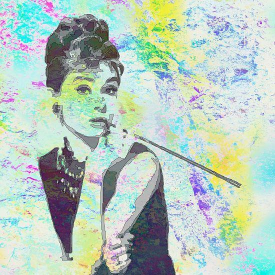 Audrey Hepburn - Frühstück bei Tiffany's Vector Art Portrait in Gelb, Blau und Grün,