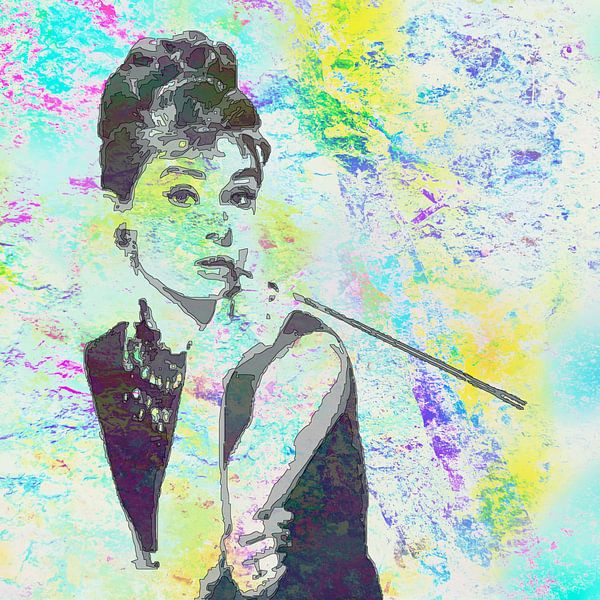 Audrey Hepburn - Frühstück bei Tiffany's Vector Art Portrait in Gelb, Blau und Grün, von Art By Dominic