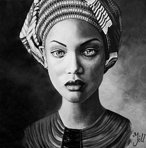 Vrouw met hoofddoek, zwart wit