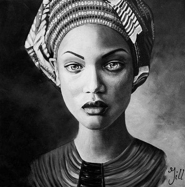 Vrouw met hoofddoek, zwart wit van Bianca ter Riet