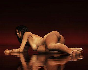 Erotisch naakt - Naakte vrouw rustend op haar zij