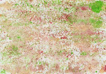Aquarell Bild mit Muster in Rosa, Grün und Ocker von Heike Rau