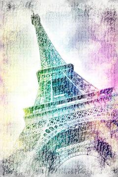 PARIS Eiffelturm | Aquarell regenbogenfarben von Melanie Viola