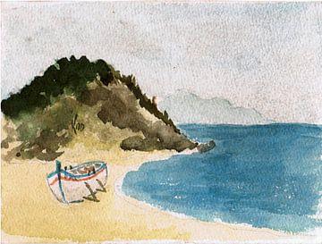 Boot / Vissersboot op het strand in Thracië geschilderd aquarel door VK (Veit Kessler) 1985