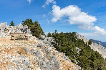 Holzbank auf dem Berg mit Felsen und Bäumen in Kefalonia Griechenland von Ben Schonewille