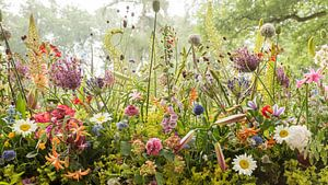 Blumenarbeit im Park