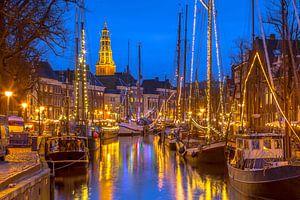 Stadsgezicht van Groningen met zeilschepen