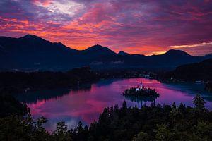 Prachtige zonsopkomst over het meer van Bled van
