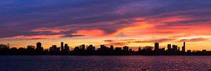 Panorama Skyline Rotterdam zonsondergang van