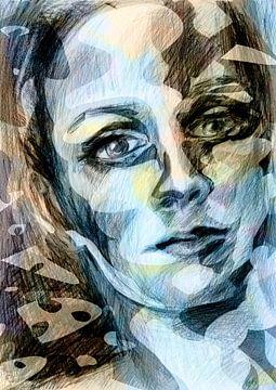 kleurrijk gezicht van een vrouw van
