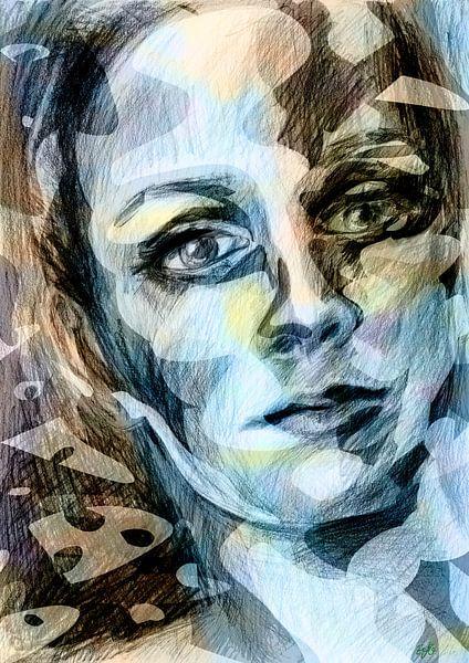 kleurrijk gezicht van een vrouw van Eva van den Hamsvoort