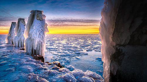 Winter landschap met ijs sculpturen  aan IJsselmeer kust