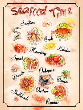 zeevruchten - vis van Printed Artings