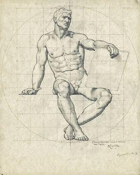 Wisconsin State Capitol, Studie eines Aktes für Mosaik I, Kenyon Cox, 1912