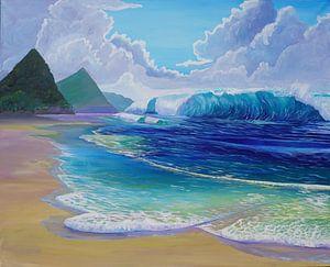 Saint Lucia Tropical Beach Scene Giant Wave and Pitons Mountains von Markus Bleichner