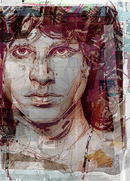 Jim Morrison, (the Doors) pop art van Jos Hoppenbrouwers