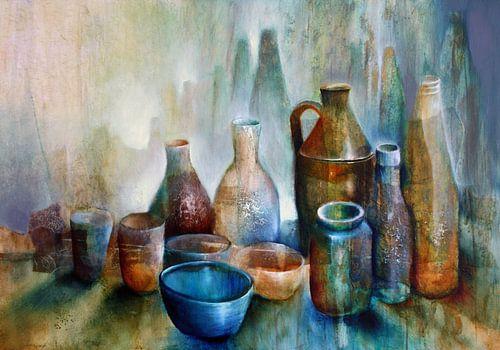 Stillleben mit blauer Schale van Annette Schmucker