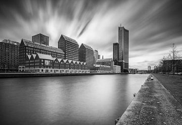 Spoorweghaven Rotterdam in zwartwit van Ilya Korzelius