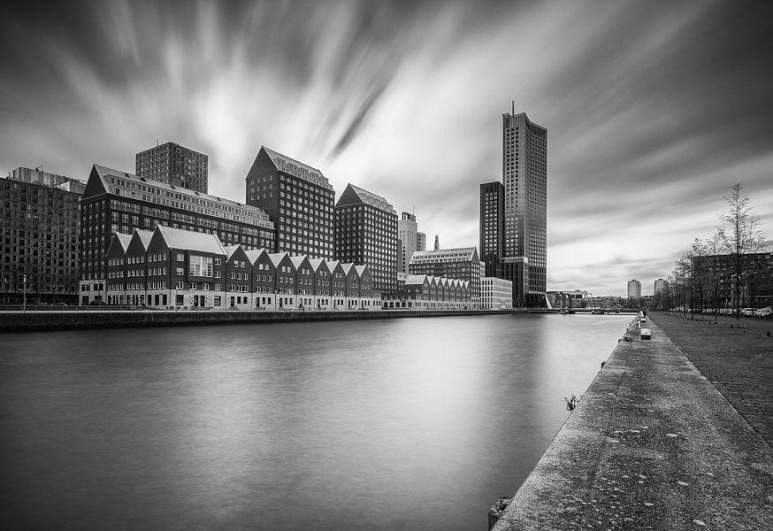 Spoorweghaven Rotterdam in zwartwit