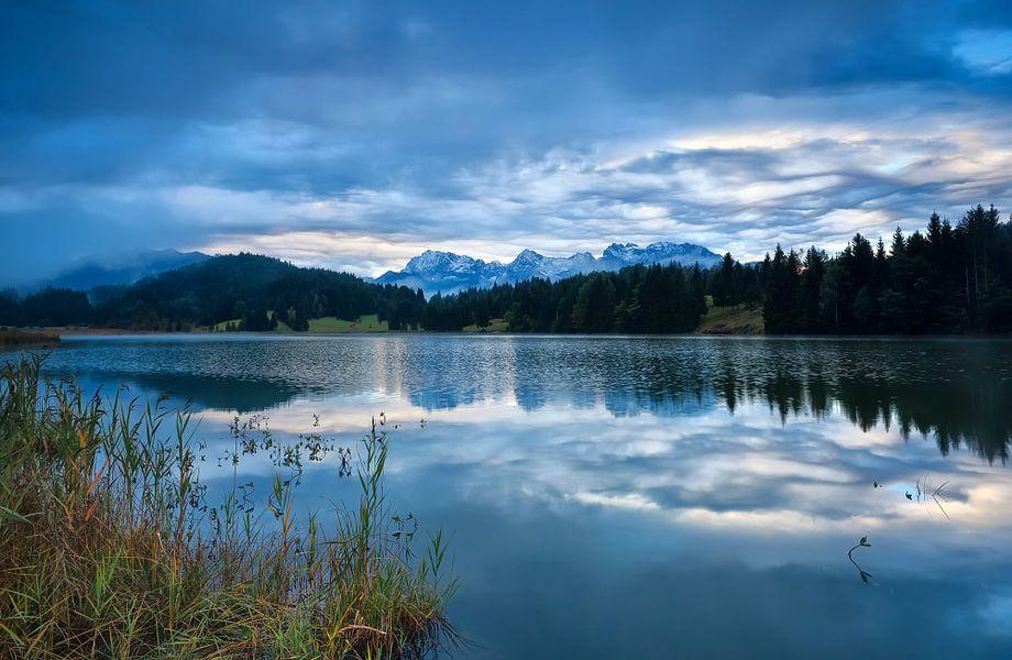 Rainy sunrise in Alps