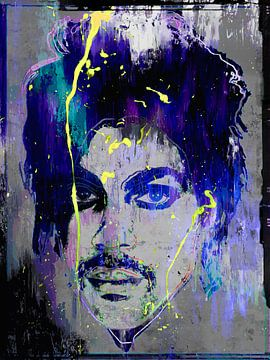 Abstraktes Prinzenporträt in Blau, Violett, Gelb, Grau von Art By Dominic
