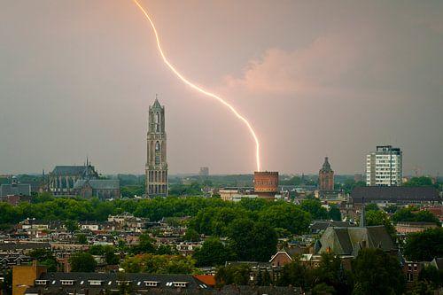 Bliksemschicht boven Utrecht.