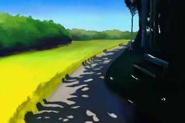 Schilderij van een landschap met interessante schaduwen op een pad van Tanja Udelhofen