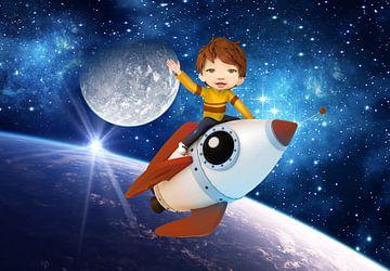 Rocket Boy (mail een foto en jouw kind wordt de astronaut) sur Anouk Muller - Funqy Wall Art