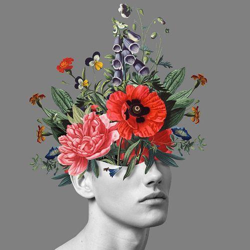 Zelfportret met bloemen 5 (grijs)