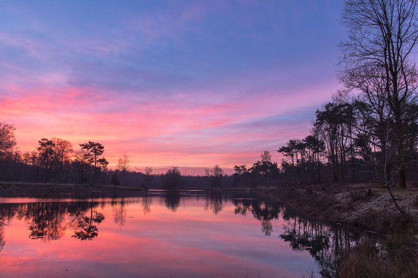 Sonnenaufgang in Sura Durst, Oosterhout, Breda, Baronie, Nordbrabant, Niederlande, Holland. von Ad Huijben
