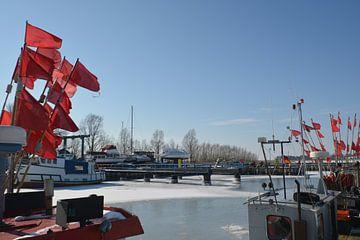 rote Fahnen auf dem Fischerboot, Hafen Thiessow von GH Foto & Artdesign