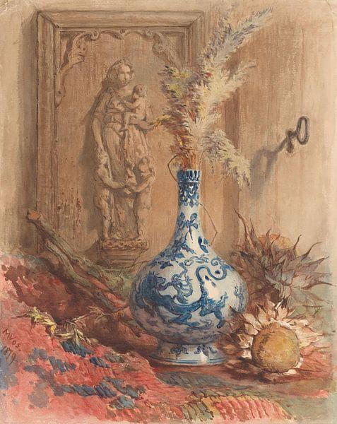 Stilleben mit chinesischer Vase und getrockneten Sonnenblumen, Maria Vos von Meesterlijcke Meesters
