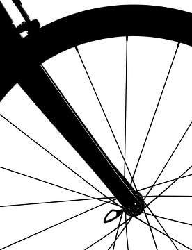 Voorwiel Fiets (zwart wit detail) van Kristian Hoekman