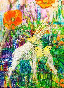 Giraffen und Schmetterlinge mit Salgado Brandt Van Gogh und Zanolino von Giovani Zanolino