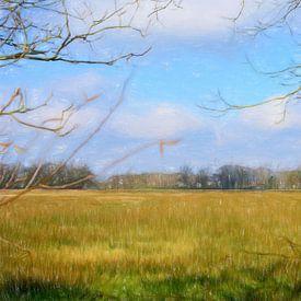 Paysage avec de l'herbe sur Lida Bruinen