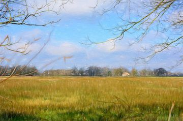 Landschap met gras (tekening) van Lida Bruinen