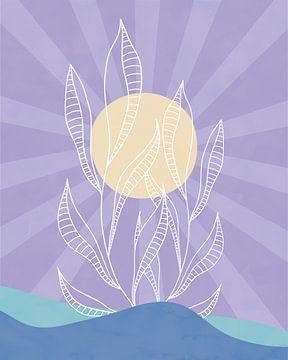 Minimalistisch zeegezicht met een plant en een zon van Tanja Udelhofen